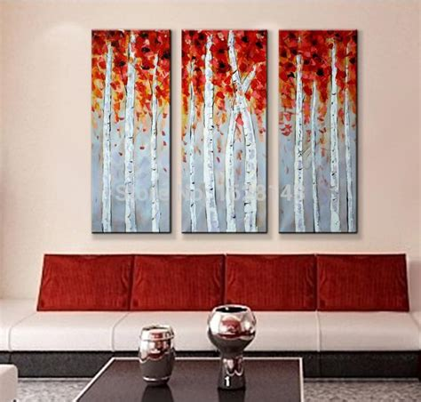hand made 3 piece canvas wall art white red woods home