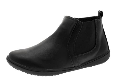 comfortable flat boots womens comfortable flat chelsea gusset faux leather ankle
