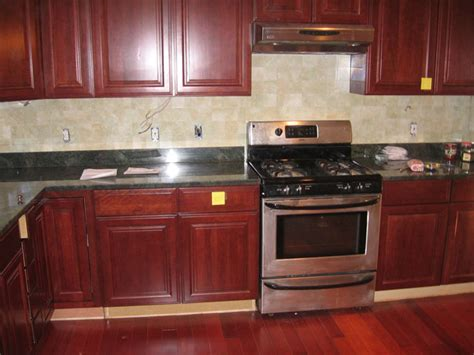 wood kitchen backsplash ideas legacy cherry cabinets with granite and ceramic tile