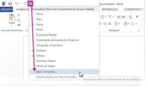 barra superior word personalizar a barra de ferramentas de acesso r 225 pido