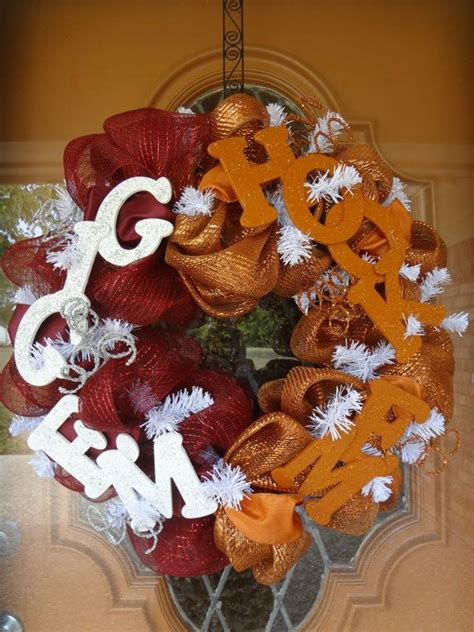 university  texas  texas  house divided mesh wreath