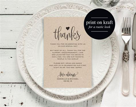 Thank You Place Cards Template by Best 25 Wedding Thank You Cards Ideas On