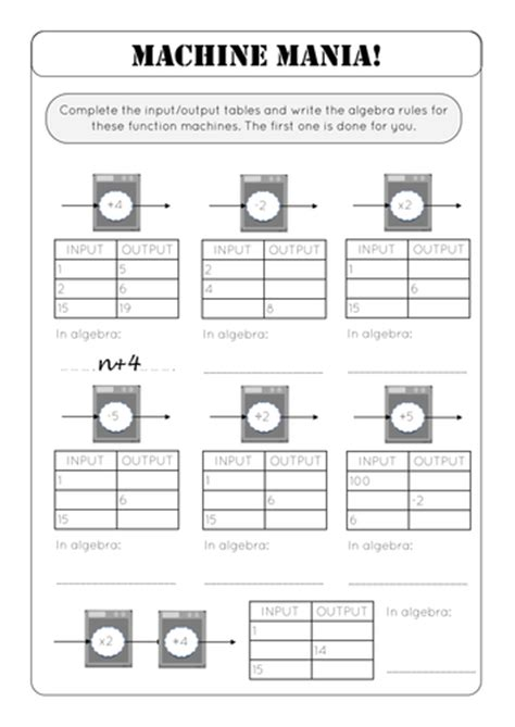 Input Output Machine Worksheet