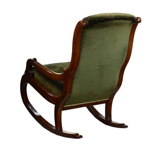 antique mahogany green upholstered rocker