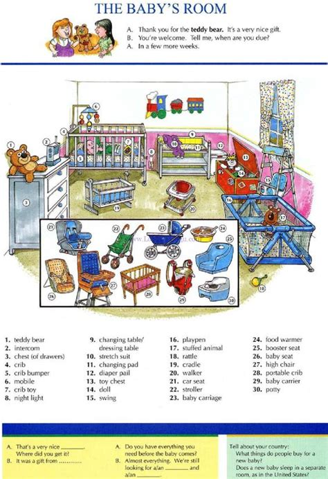 room or room grammar 16 the baby s room pictures dictionary study explanations free exercises