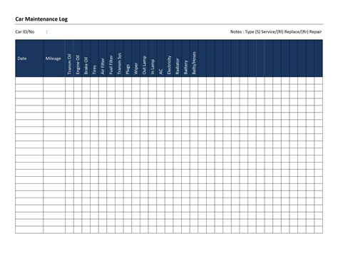 car maintenance log template free microsoft word templates