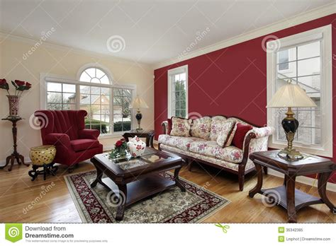 cream colored living rooms living room with red and cream colored walls royalty free