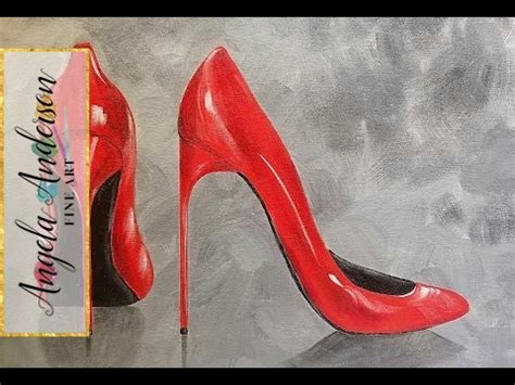 sexy red stilettos acrylic painting tutorial   paint