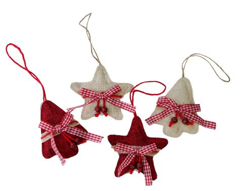 4x christmas hessian fabric tree ornament gingham style