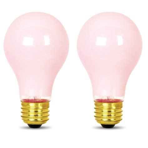 pink light bulbs 60 watt incandescent a19 feit electric