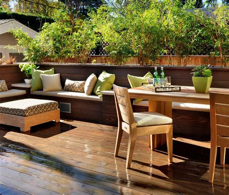 outdoor banquette modern built in bench kitchen midcentury with green dining