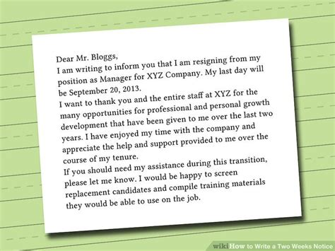 how to write a letter giving 2 weeks notice image collections