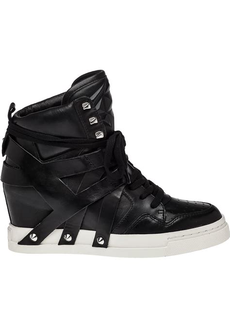 black leather wedge sneakers lyst ash call black leather wedge sneaker in black