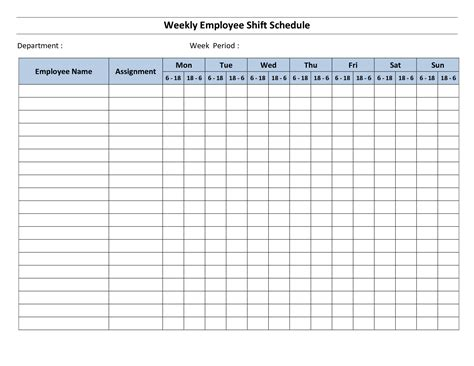Employee Schedule Template   vnzgames