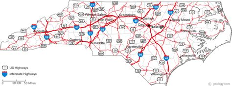 printable road map of north carolina map of north carolina
