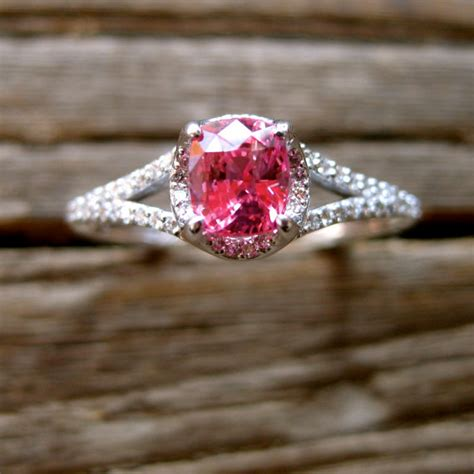 padparadscha sapphire engagement ring pink padparadscha sapphire engagement ring in 14k white gold
