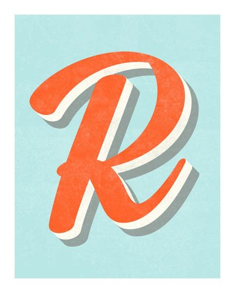 the letter r original art print typography alphabet
