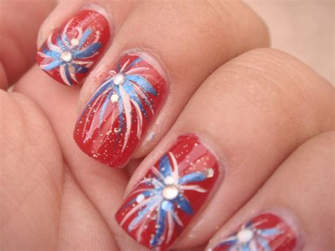 red acrylic 4th of july nils 4th of july nail ideas 4th of july firecracker