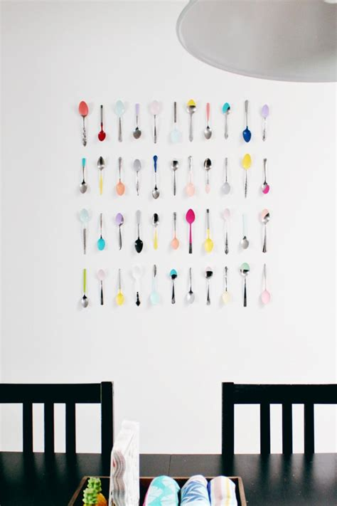cheap kitchen wall decor ideas wall diy dip painted spoons for your kitchen a