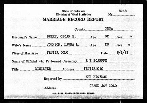 Mesa County Marriage Records L Johnson