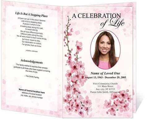 obituary program bi fold and funeral bulletins spring