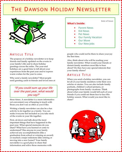 christmas newsletter templates for pages download holiday newsletter template for free formtemplate