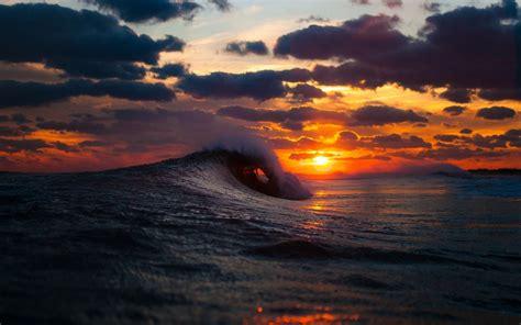 sea surf wave sunset hd wallpaper  wallpaperscom