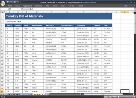 bill of materials template fileparty
