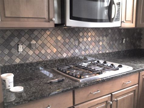 slate tile kitchen backsplash ceramictec multi color tumbled slate kitchen backsplash