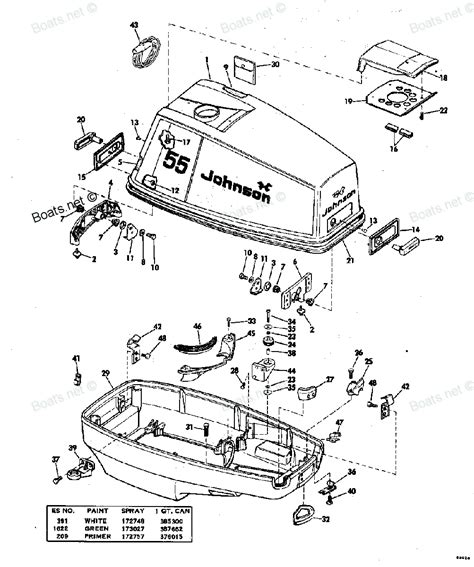 johnson outboard parts diagram 1976 55el76e johnson outboard motor cover diagram and parts