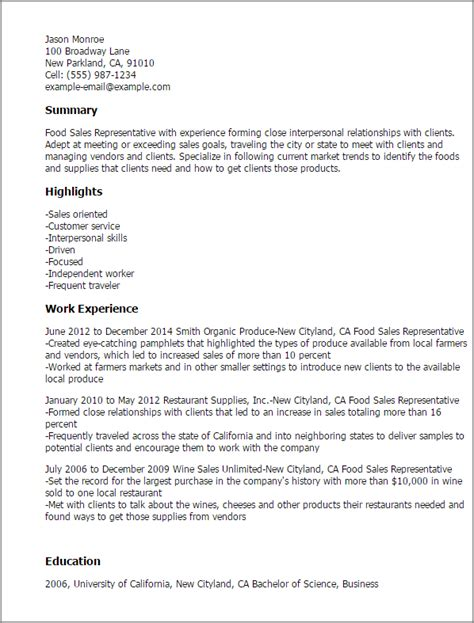 Food Sales Representative Sle Resume by Professional Food Sales Representative Templates To Showcase Your Talent Myperfectresume