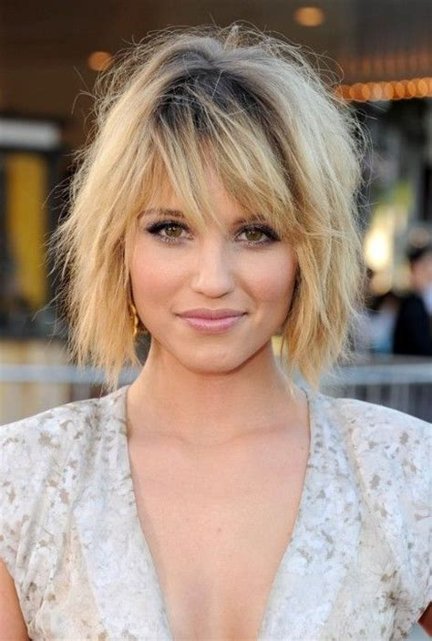 short ombre hair with bangs dianna agron layered short ombre bob hairstyle with bangs