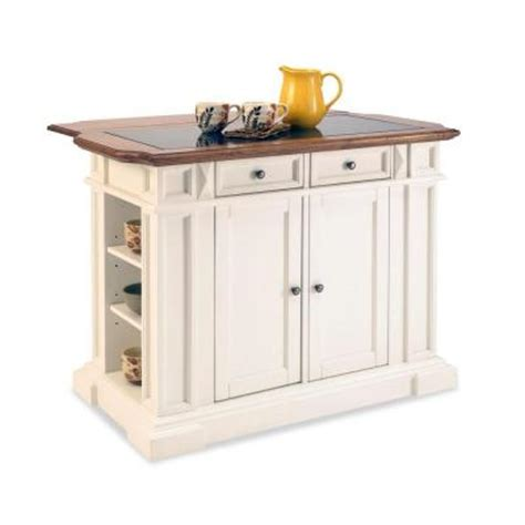 home depot kitchen islands home styles deluxe traditions kitchen island in white with oak top and black granite inlay