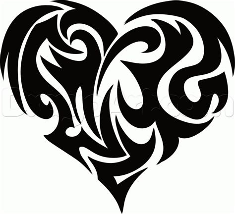 tribal pattern heart how to draw a tribal heart tattoo step by step tribal