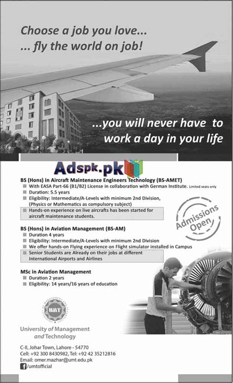 Mba In Aviation Management Salary In Pakistan by Admissions Open 2015 In Umt Lahore For Bs Hons