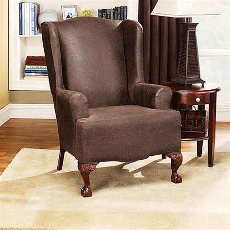 wingchair slipcover sure fit stretch leather wing chair slipcover brown