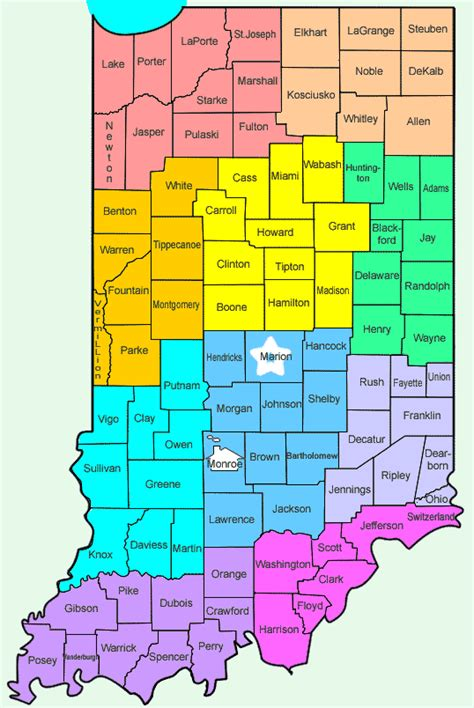 indiana counties map indiana s counties county seats courthouses