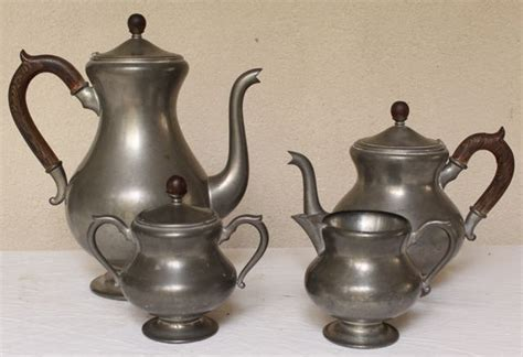 beautiful vintage pewter tea  coffee set  pcs vintage american home