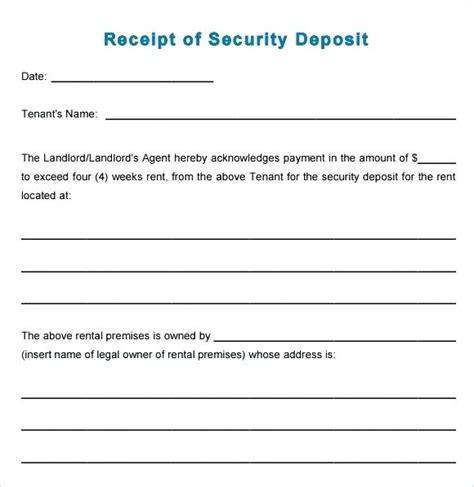 deposit refund receipt template refund receipt security deposit return receipt deposit