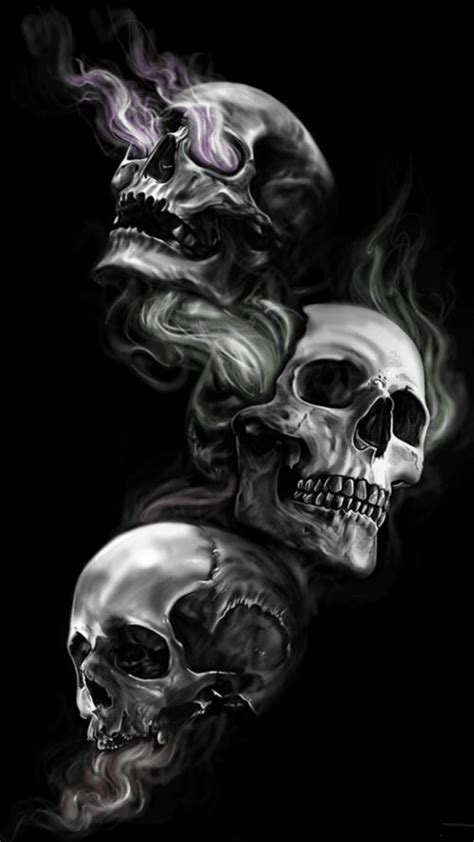 badass wallpapers for android 04 0f 40 three skulls on