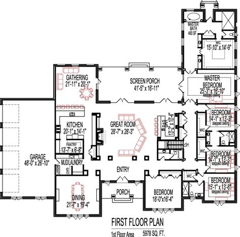 6000 sq ft house plans 5 bedroom house plans open floor plan design 6000 sq ft house 1 story