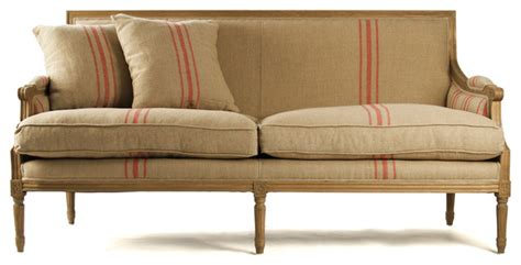farmhouse sofa louis sofa natural oak with red stripe linen farmhouse