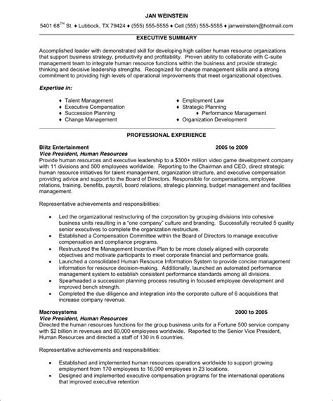 hr executive free resume sles blue sky resumes
