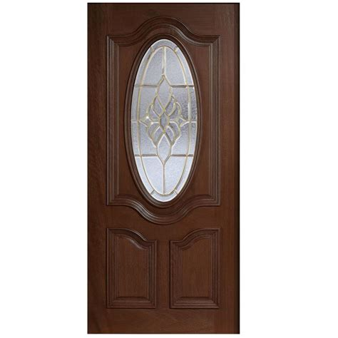 Solid Wood Front Door With Glass Door 36 In X 80 In Mahogany Type 3 4 Oval Glass Prefinished Antique Beveled Brass Solid