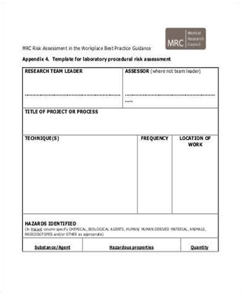 Workplace Risk Assessment Template by Sle Workplace Risk Assessment Forms 8 Free Documents
