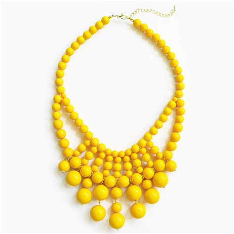 Yellow Neckles retro bauble necklace statement bib necklace with yellow