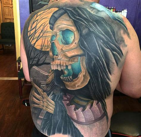 full body grim reaper tattoo grim reaper full back tattoo duluth mn by kyle grover