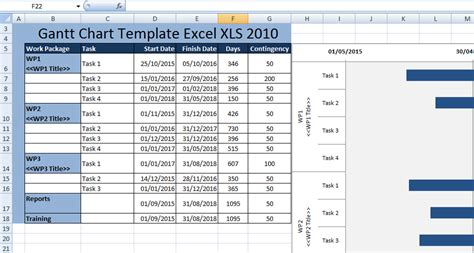 Creating Gantt Chart Template Excel Xls 2010 Free Excel Spreadsheets And Templates Excel Gantt Chart Template With Dates