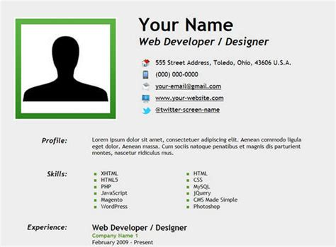design a html page to display your cv 25 free html resume templates for your successful online