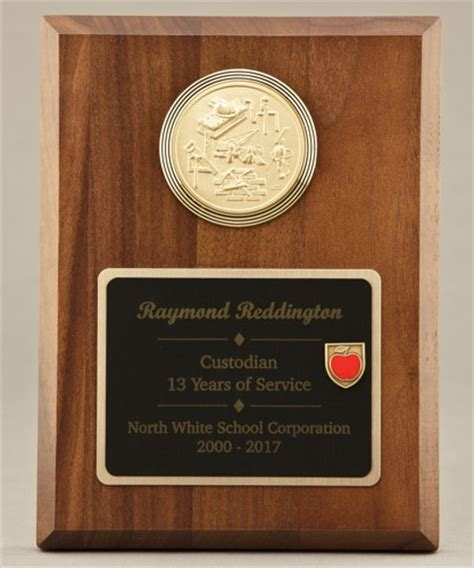Handcrafted Plaques - custodial maintenance medallion plaque 22a